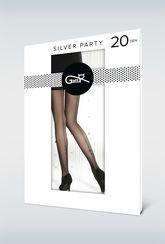 Rajstopy wzorzyste z błyszczącą aplikacją Silver party 09 - Gatta