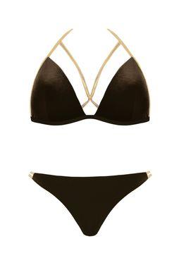 Welurowy strój kąpielowy ze złotymi paskami (S555E19) - Gatta