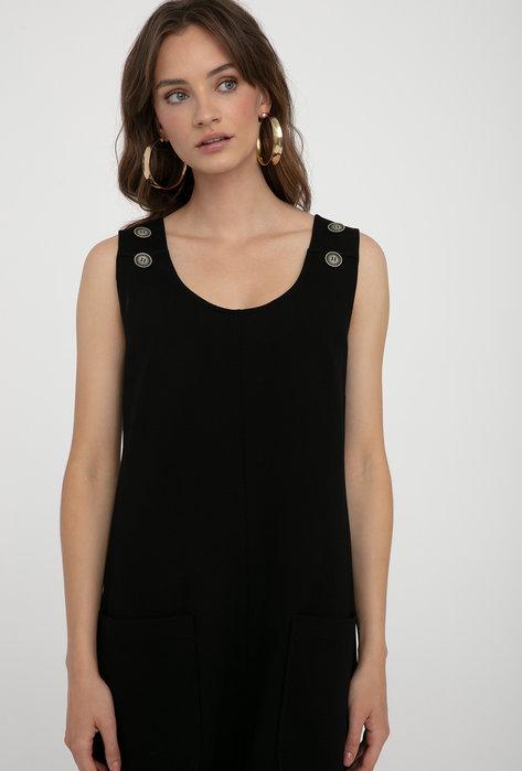 Krótka trapezowa sukienka Button bez rękawów - Gatta