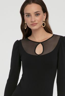 Czarne eleganckie body z siateczką Melilla - Gatta