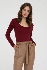 Bordowa bluzka z długim rękawem Amera - Gatta
