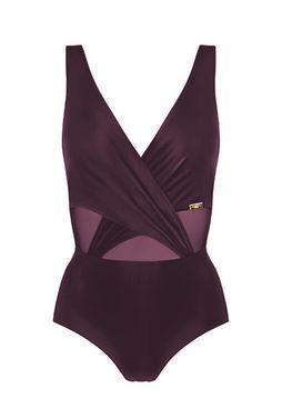Jednoczęściowy strój kąpielowy z kopertowym dekoltem (S1081) - Gatta
