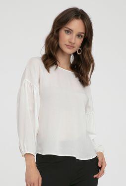 Elegancka biała bluzka z bufiastymi rękawami Mirella - Gatta