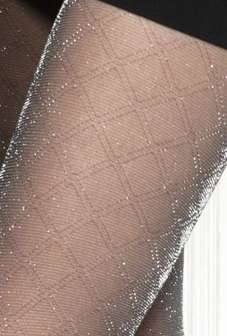 Błyszczące rajstopy w romby Silver party 07 - Gatta