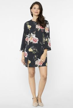Czarna sukienka w kwiaty Singapur - Gatta