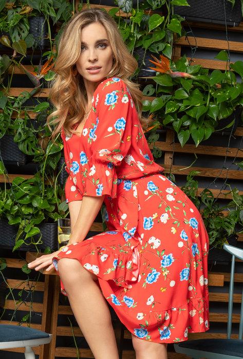 Sukienka w kwiaty z falbanami Loris - Gatta