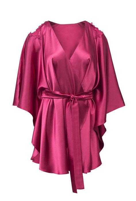 Satynowy szlafrok kimono z wiązaniem Celine (AN8-681) - Gatta